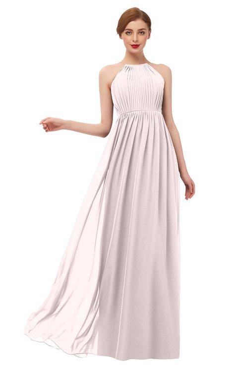 ColsBM Peyton Light Pink Bridesmaid Dresses Pleated Halter Sleeveless Half Backless A-line Glamorous