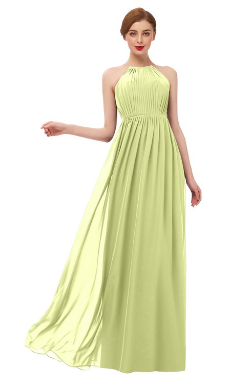 ColsBM Peyton Lime Sherbet Bridesmaid Dresses Pleated Halter Sleeveless Half Backless A-line Glamorous