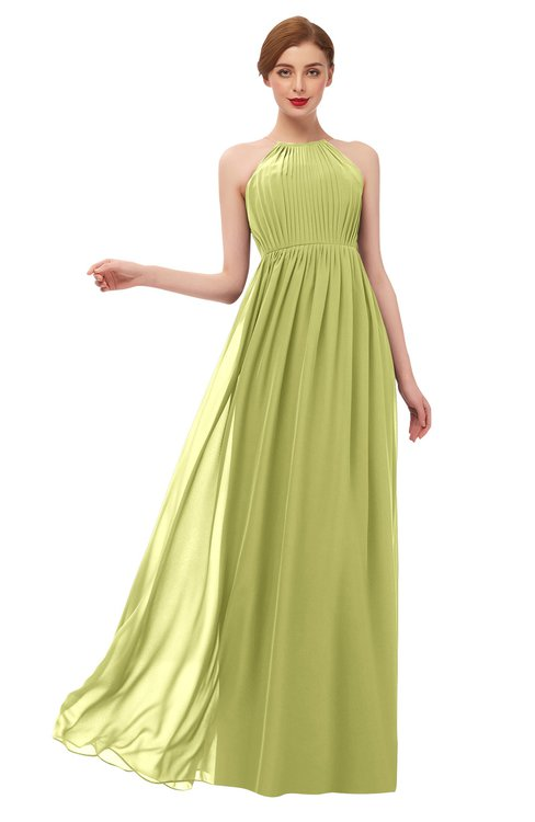 ColsBM Peyton Linden Green Bridesmaid Dresses Pleated Halter Sleeveless Half Backless A-line Glamorous