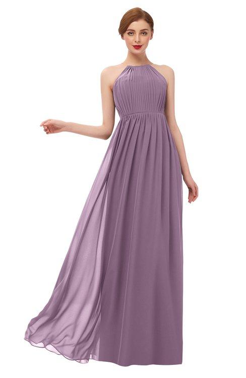 ColsBM Peyton Mauve Bridesmaid Dresses Pleated Halter Sleeveless Half Backless A-line Glamorous