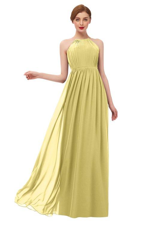 ColsBM Peyton Misted Yellow Bridesmaid Dresses Pleated Halter Sleeveless Half Backless A-line Glamorous