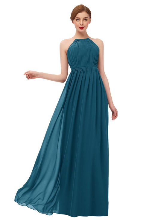 ColsBM Peyton Moroccan Blue Bridesmaid Dresses Pleated Halter Sleeveless Half Backless A-line Glamorous