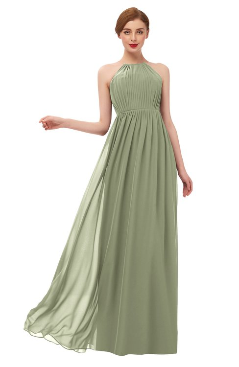 ColsBM Peyton Moss Green Bridesmaid Dresses Pleated Halter Sleeveless Half Backless A-line Glamorous