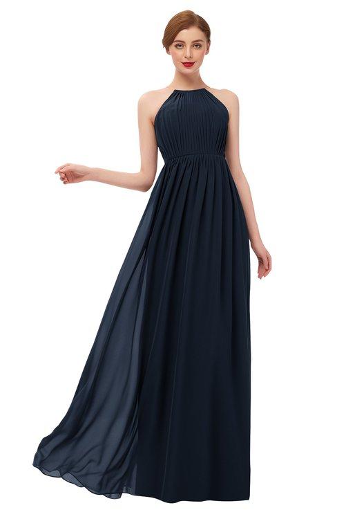 ColsBM Peyton Navy Blue Bridesmaid Dresses Pleated Halter Sleeveless Half Backless A-line Glamorous