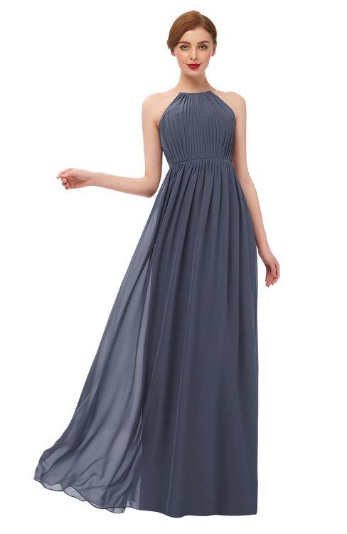 ColsBM Peyton Nightshadow Blue Bridesmaid Dresses Pleated Halter Sleeveless Half Backless A-line Glamorous