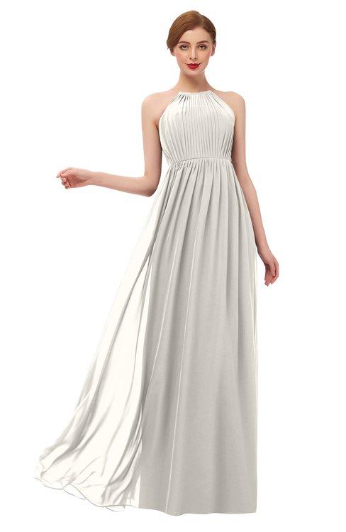 ColsBM Peyton Off White Bridesmaid Dresses Pleated Halter Sleeveless Half Backless A-line Glamorous