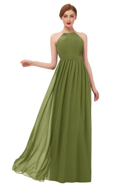 ColsBM Peyton Olive Green Bridesmaid Dresses Pleated Halter Sleeveless Half Backless A-line Glamorous