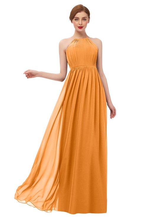 ColsBM Peyton Orange Bridesmaid Dresses Pleated Halter Sleeveless Half Backless A-line Glamorous