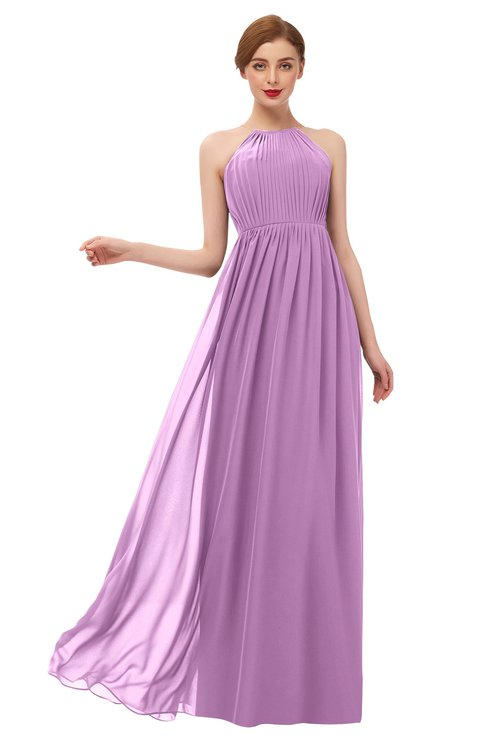 ColsBM Peyton Orchid Bridesmaid Dresses Pleated Halter Sleeveless Half Backless A-line Glamorous