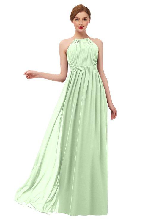 ColsBM Peyton Pale Green Bridesmaid Dresses Pleated Halter Sleeveless Half Backless A-line Glamorous
