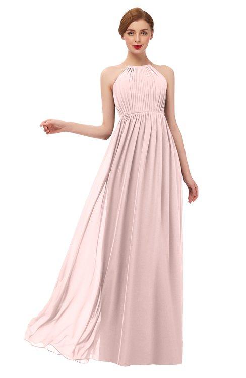 ColsBM Peyton Pastel Pink Bridesmaid Dresses Pleated Halter Sleeveless Half Backless A-line Glamorous