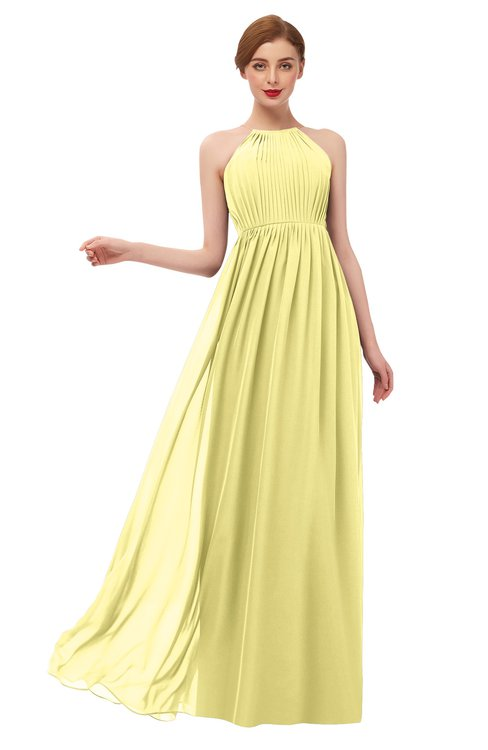 ColsBM Peyton Pastel Yellow Bridesmaid Dresses Pleated Halter Sleeveless Half Backless A-line Glamorous
