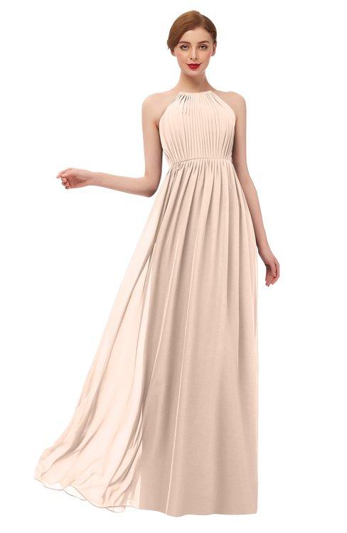 ColsBM Peyton Peach Puree Bridesmaid Dresses Pleated Halter Sleeveless Half Backless A-line Glamorous