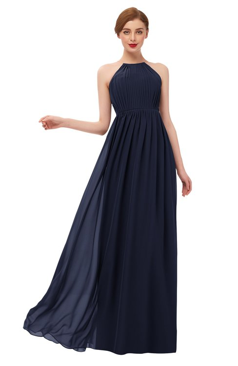ColsBM Peyton Peacoat Bridesmaid Dresses Pleated Halter Sleeveless Half Backless A-line Glamorous
