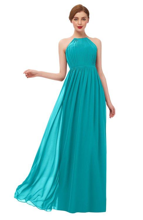 ColsBM Peyton Peacock Blue Bridesmaid Dresses Pleated Halter Sleeveless Half Backless A-line Glamorous