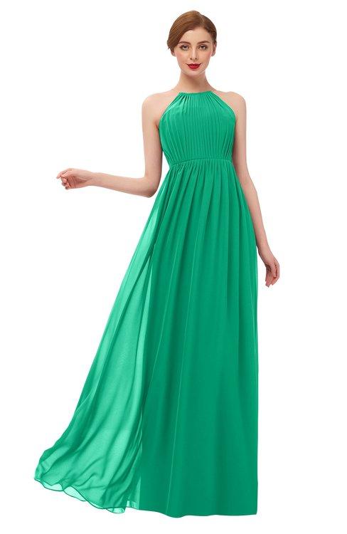 ColsBM Peyton Pepper Green Bridesmaid Dresses Pleated Halter Sleeveless Half Backless A-line Glamorous