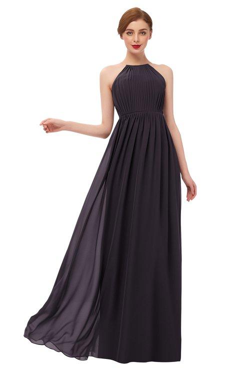 ColsBM Peyton Perfect Plum Bridesmaid Dresses Pleated Halter Sleeveless Half Backless A-line Glamorous