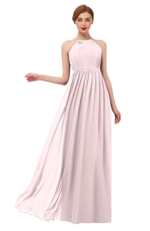 ColsBM Peyton Petal Pink Bridesmaid Dresses Pleated Halter Sleeveless Half Backless A-line Glamorous