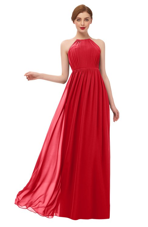 ColsBM Peyton Red Bridesmaid Dresses Pleated Halter Sleeveless Half Backless A-line Glamorous