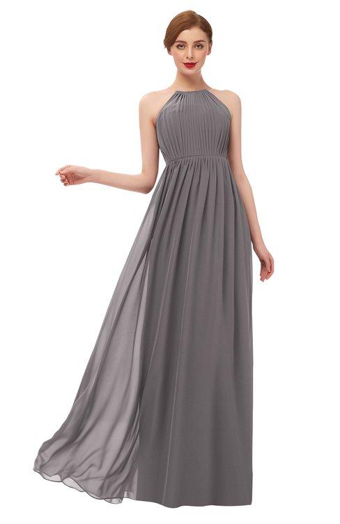 ColsBM Peyton Ridge Grey Bridesmaid Dresses Pleated Halter Sleeveless Half Backless A-line Glamorous