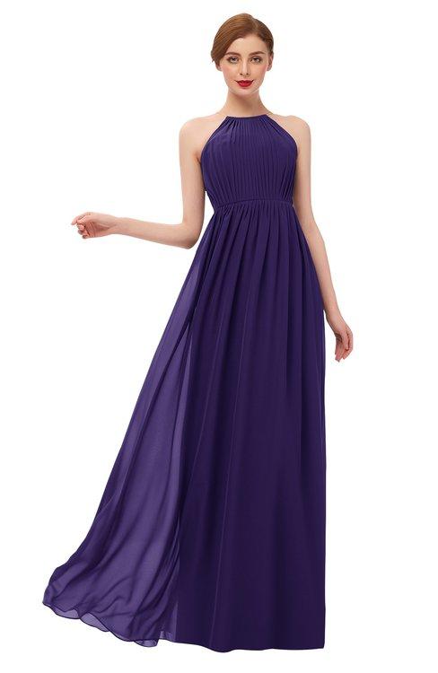 ColsBM Peyton Royal Purple Bridesmaid Dresses Pleated Halter Sleeveless Half Backless A-line Glamorous