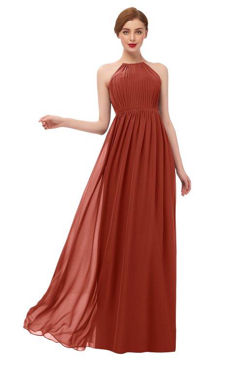 ColsBM Peyton Rust Bridesmaid Dresses Pleated Halter Sleeveless Half Backless A-line Glamorous