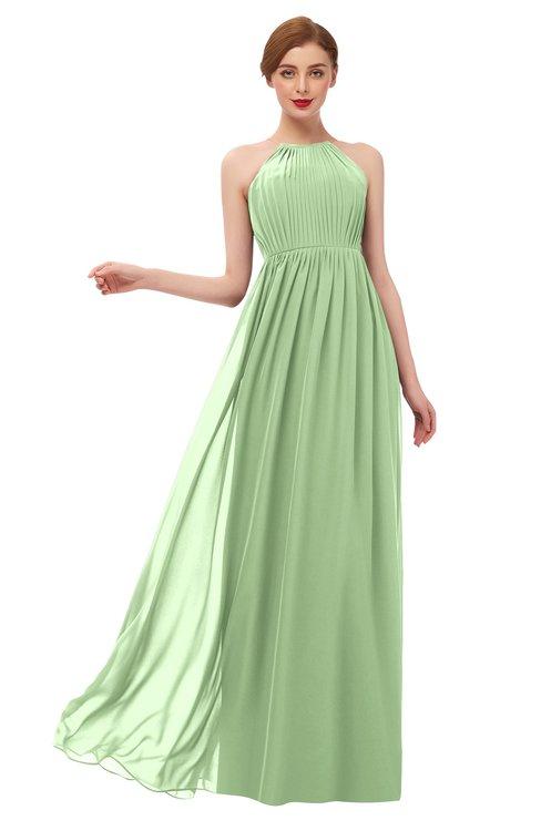 ColsBM Peyton Sage Green Bridesmaid Dresses Pleated Halter Sleeveless Half Backless A-line Glamorous