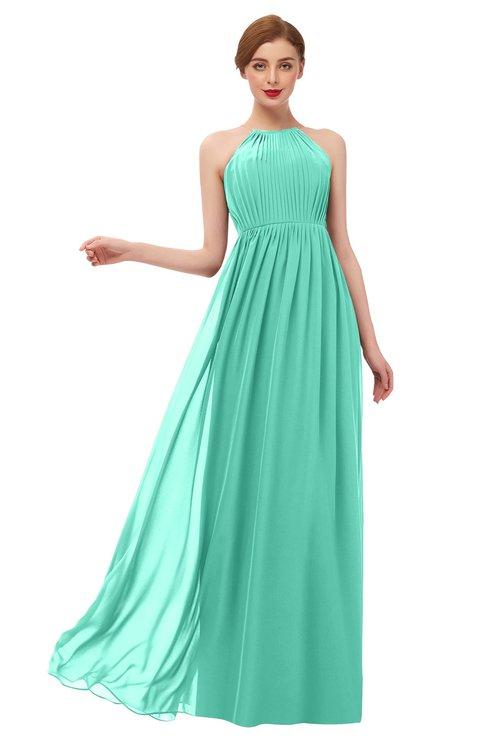 ColsBM Peyton Seafoam Green Bridesmaid Dresses Pleated Halter Sleeveless Half Backless A-line Glamorous