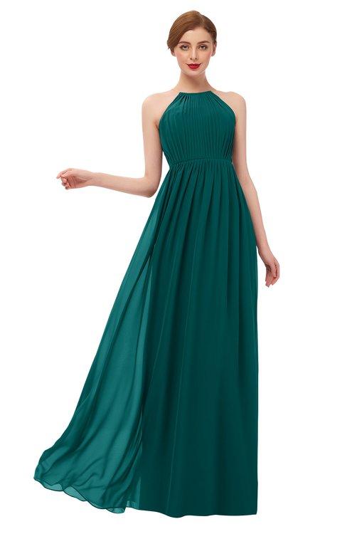 ColsBM Peyton Shaded Spruce Bridesmaid Dresses Pleated Halter Sleeveless Half Backless A-line Glamorous