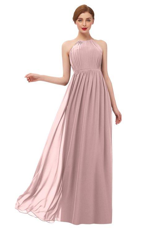 ColsBM Peyton Silver Pink Bridesmaid Dresses Pleated Halter Sleeveless Half Backless A-line Glamorous
