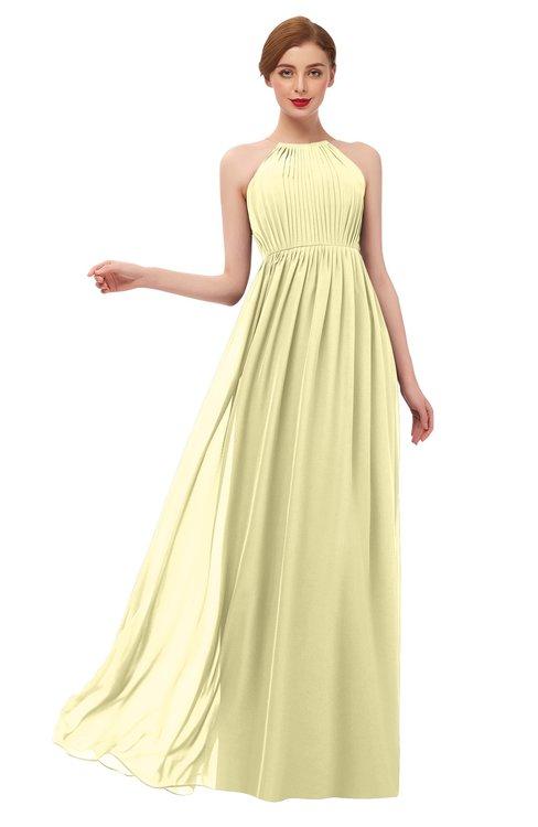 ColsBM Peyton Soft Yellow Bridesmaid Dresses Pleated Halter Sleeveless Half Backless A-line Glamorous
