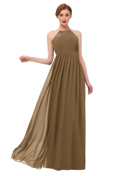 ColsBM Peyton Truffle Bridesmaid Dresses Pleated Halter Sleeveless Half Backless A-line Glamorous