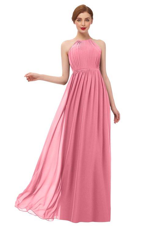 ColsBM Peyton Watermelon Bridesmaid Dresses Pleated Halter Sleeveless Half Backless A-line Glamorous