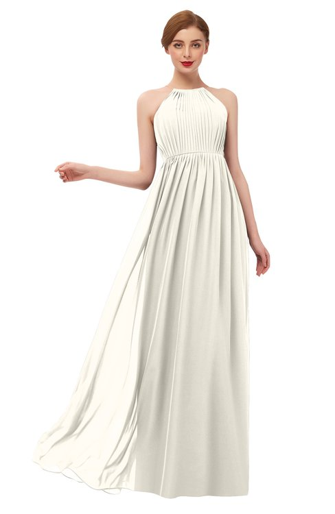 ColsBM Peyton Whisper White Bridesmaid Dresses Pleated Halter Sleeveless Half Backless A-line Glamorous