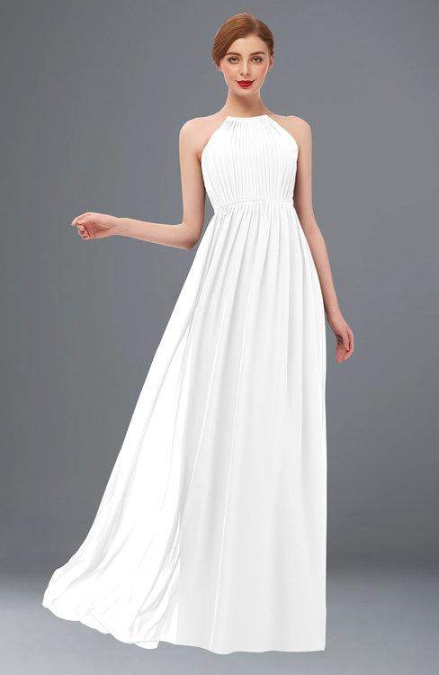 ColsBM Peyton White Bridesmaid Dresses Pleated Halter Sleeveless Half Backless A-line Glamorous