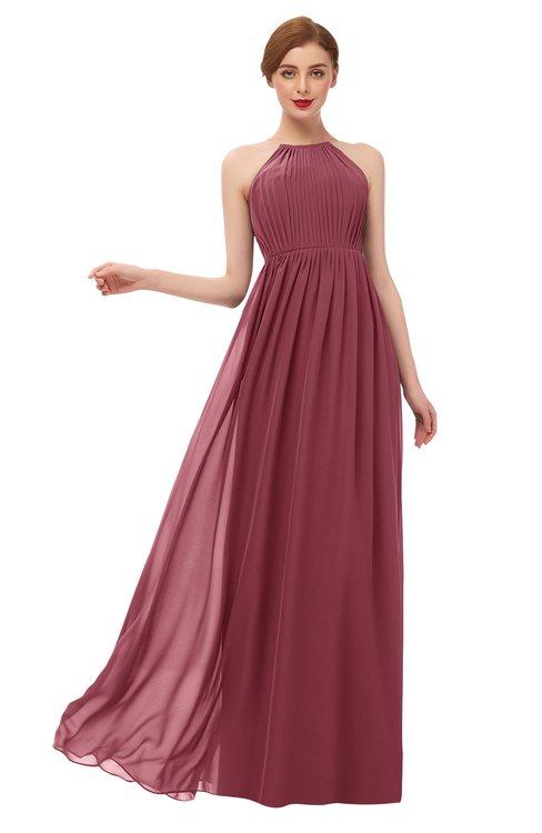 ColsBM Peyton Wine Bridesmaid Dresses Pleated Halter Sleeveless Half Backless A-line Glamorous