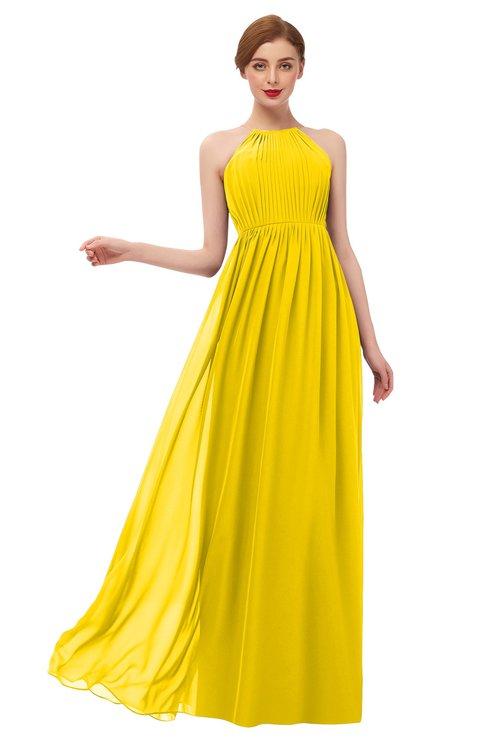 ColsBM Peyton Yellow Bridesmaid Dresses Pleated Halter Sleeveless Half Backless A-line Glamorous