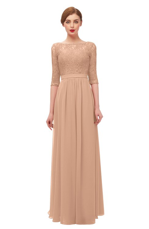 ColsBM Neriah Almost Apricot Bridesmaid Dresses Lace Antique Zipper Boat Floor Length Half Length Sleeve