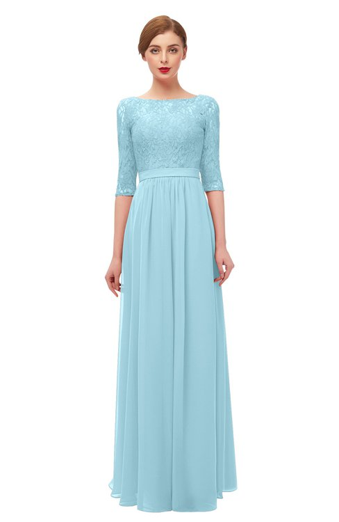 ColsBM Neriah Aqua Bridesmaid Dresses Lace Antique Zipper Boat Floor Length Half Length Sleeve