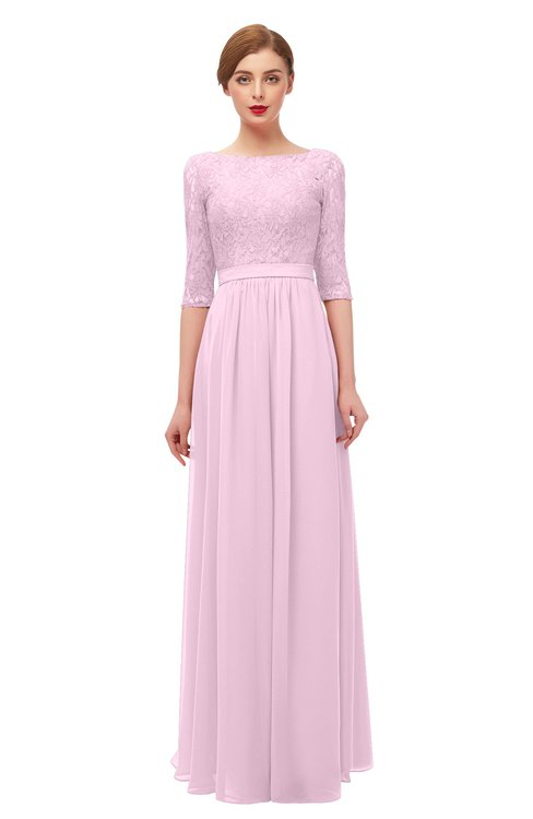 ColsBM Neriah Baby Pink Bridesmaid Dresses Lace Antique Zipper Boat Floor Length Half Length Sleeve