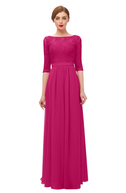 ColsBM Neriah Beetroot Purple Bridesmaid Dresses Lace Antique Zipper Boat Floor Length Half Length Sleeve