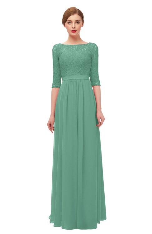 ColsBM Neriah Beryl Green Bridesmaid Dresses Lace Antique Zipper Boat Floor Length Half Length Sleeve