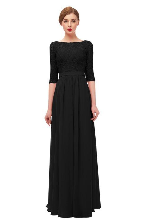 ColsBM Neriah Black Bridesmaid Dresses Lace Antique Zipper Boat Floor Length Half Length Sleeve