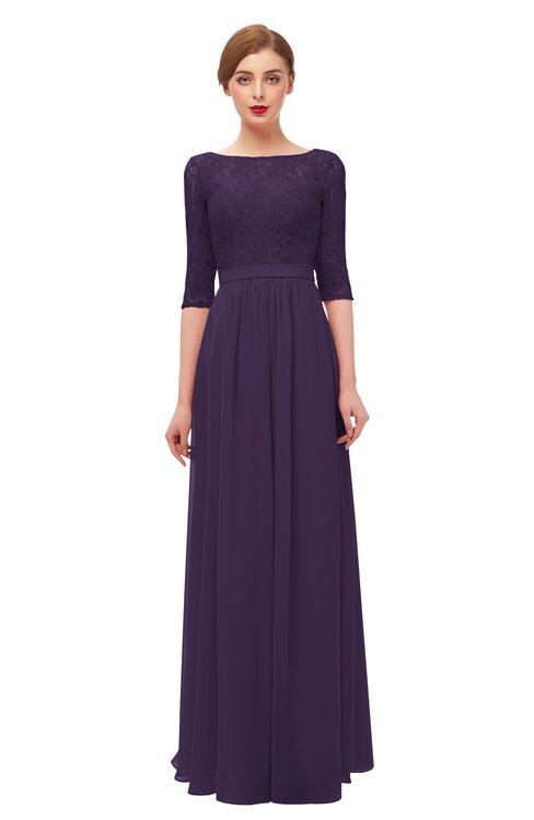 ColsBM Neriah Blackberry Cordial Bridesmaid Dresses Lace Antique Zipper Boat Floor Length Half Length Sleeve