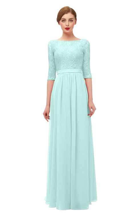 ColsBM Neriah Blue Glass Bridesmaid Dresses Lace Antique Zipper Boat Floor Length Half Length Sleeve