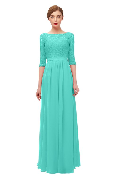 ColsBM Neriah Blue Turquoise Bridesmaid Dresses Lace Antique Zipper Boat Floor Length Half Length Sleeve