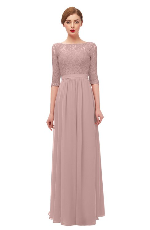 ColsBM Neriah Blush Pink Bridesmaid Dresses Lace Antique Zipper Boat Floor Length Half Length Sleeve