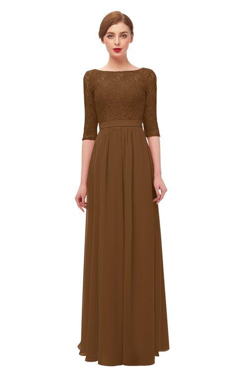 ColsBM Neriah Brown Bridesmaid Dresses Lace Antique Zipper Boat Floor Length Half Length Sleeve