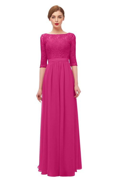 ColsBM Neriah Cabaret Bridesmaid Dresses Lace Antique Zipper Boat Floor Length Half Length Sleeve