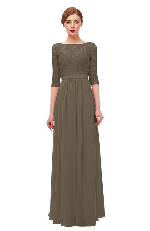 ColsBM Neriah Carafe Brown Bridesmaid Dresses Lace Antique Zipper Boat Floor Length Half Length Sleeve